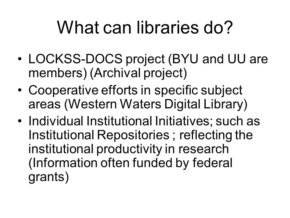 What can libraries do.