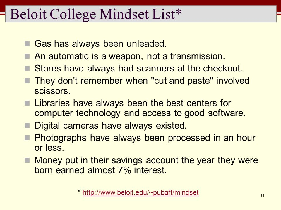 11 Beloit College Mindset List* Gas has always been unleaded. An automatic is a weapon, not a transmission. Stores have always had scanners at the che