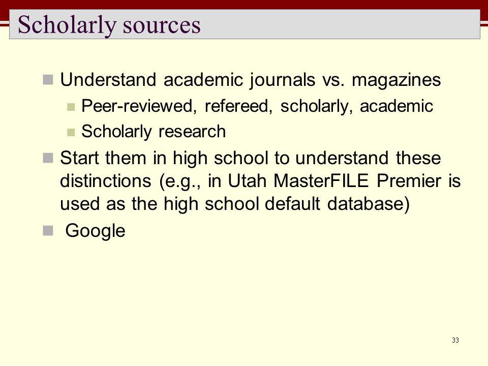 33 Scholarly sources Understand academic journals vs.
