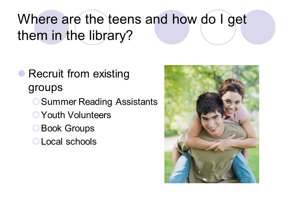 Where are the teens and how do I get them in the library.