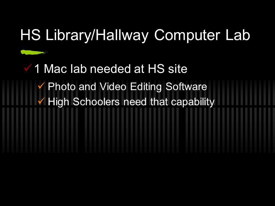 HS Library/Hallway Computer Lab 1 Mac lab needed at HS site Photo and Video Editing Software High Schoolers need that capability
