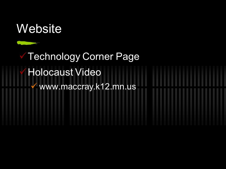 Website Technology Corner Page Holocaust Video www.maccray.k12.mn.us