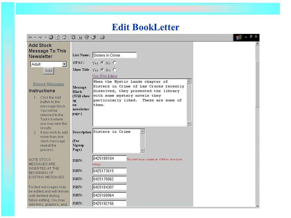 Edit BookLetter