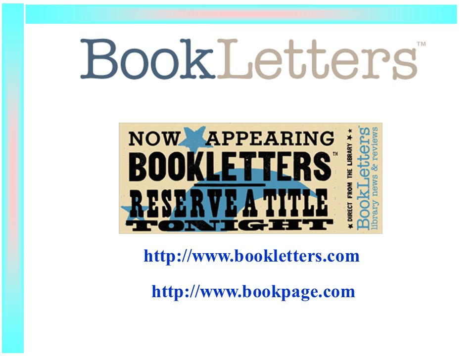 BookLetters http://www.bookletters.com http://www.bookpage.com