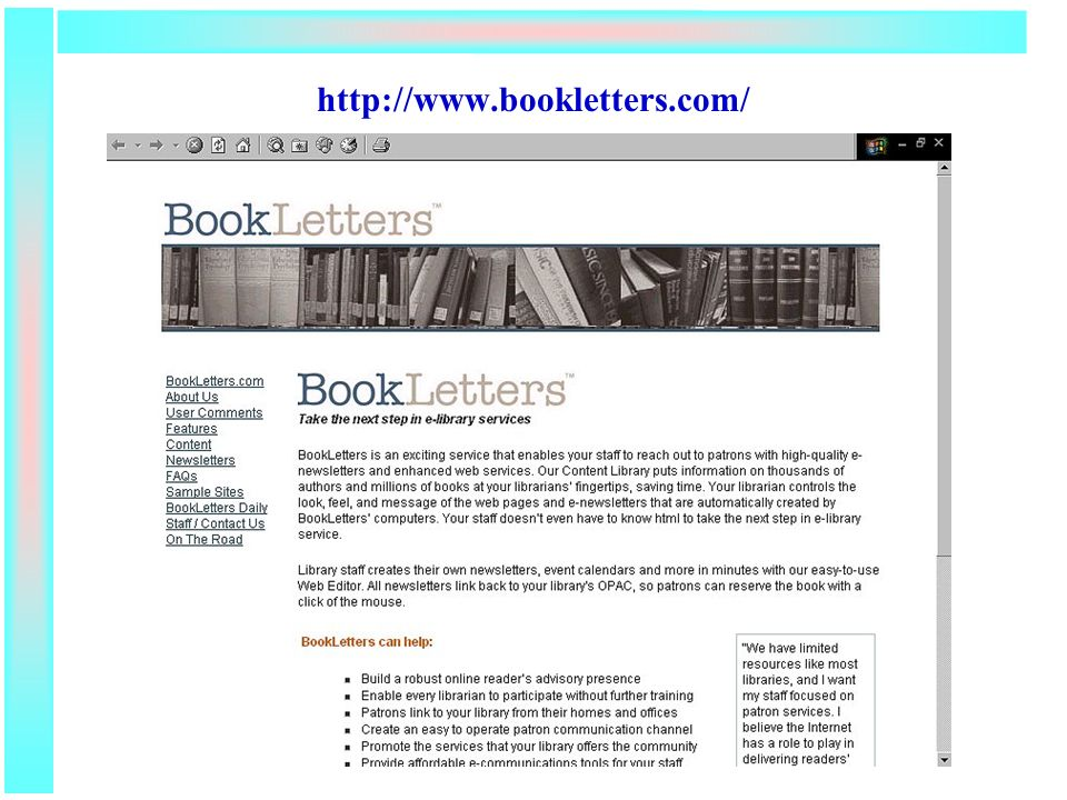 http://www.bookletters.com/