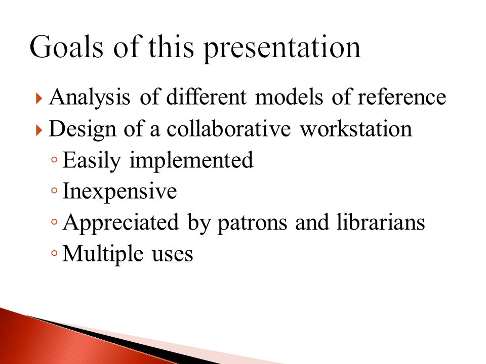 Analysis of different models of reference Design of a collaborative workstation Easily implemented Inexpensive Appreciated by patrons and librarians Multiple uses