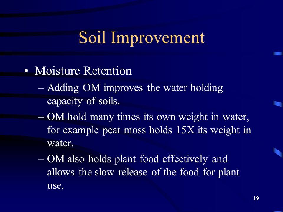 19 Soil Improvement Moisture Retention –Adding OM improves the water holding capacity of soils.