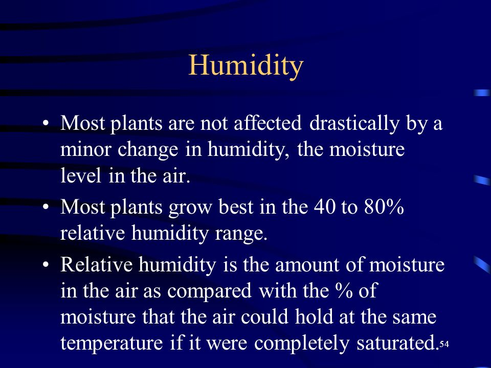 54 Humidity Most plants are not affected drastically by a minor change in humidity, the moisture level in the air.