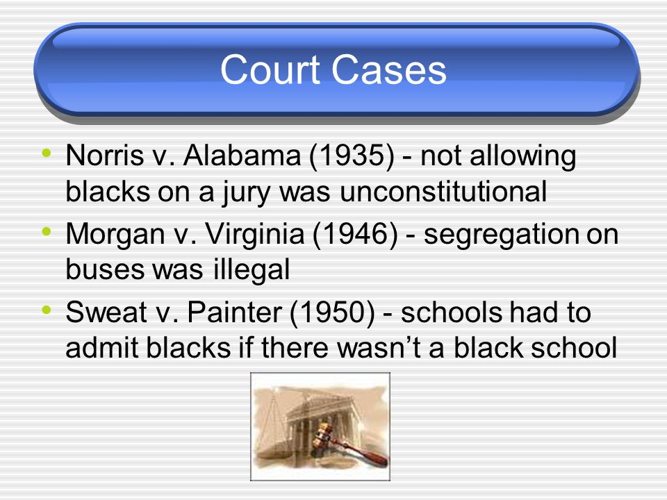 Court Cases Norris v. Alabama (1935) - not allowing blacks on a jury was unconstitutional Morgan v. Virginia (1946) - segregation on buses was illegal