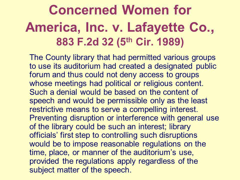 Concerned Women for America, Inc. v. Lafayette Co., 883 F.2d 32 (5 th Cir.