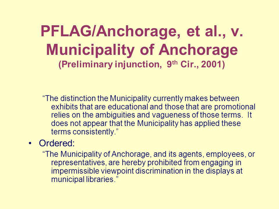 PFLAG/Anchorage, et al., v.