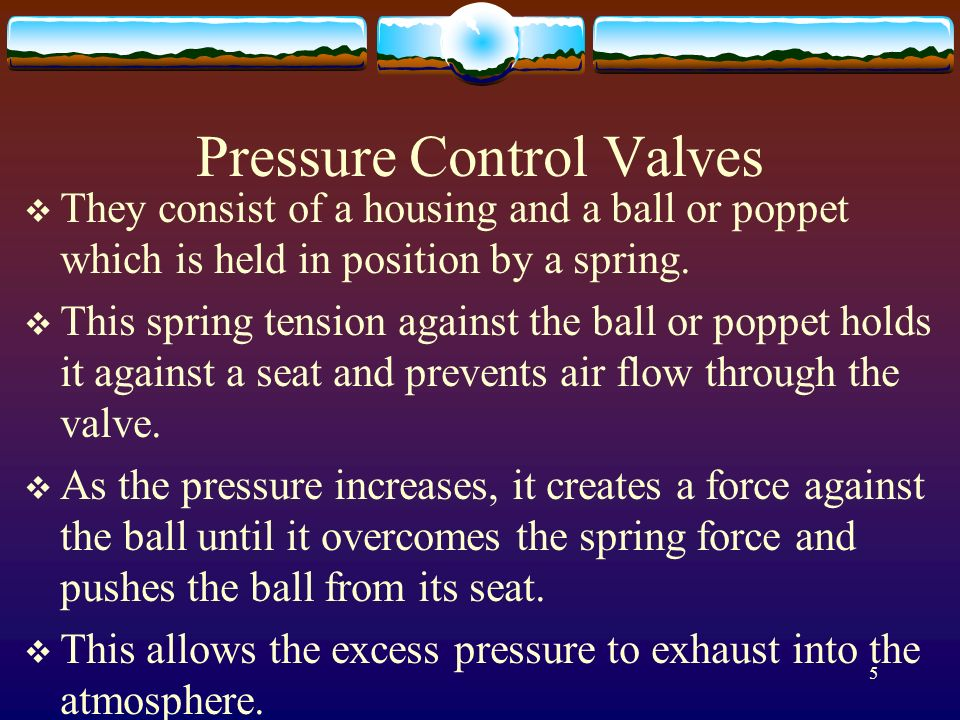 5 Pressure Control Valves They consist of a housing and a ball or poppet which is held in position by a spring. This spring tension against the ball o
