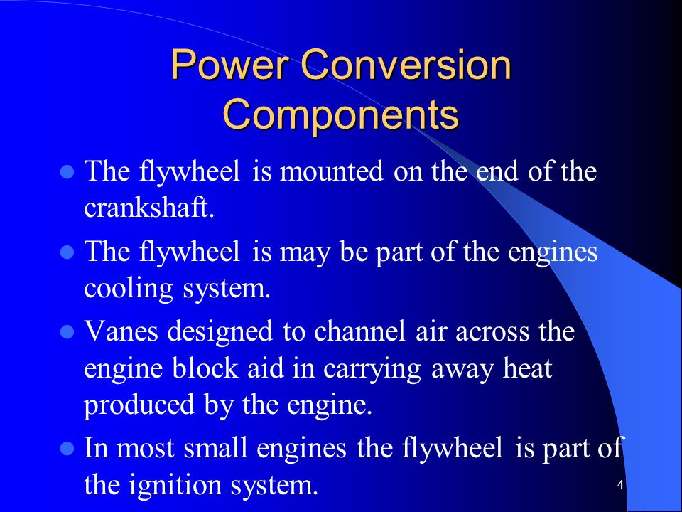 4 Power Conversion Components The flywheel is mounted on the end of the crankshaft. The flywheel is may be part of the engines cooling system. Vanes d