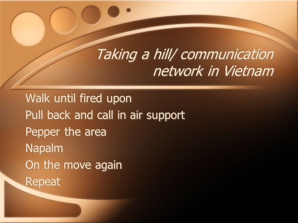 Taking a hill/ communication network in Vietnam Walk until fired upon Pull back and call in air support Pepper the area Napalm On the move again Repea