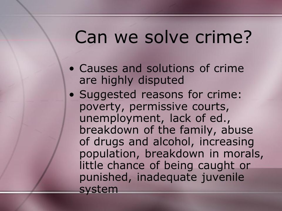 Can we solve crime.
