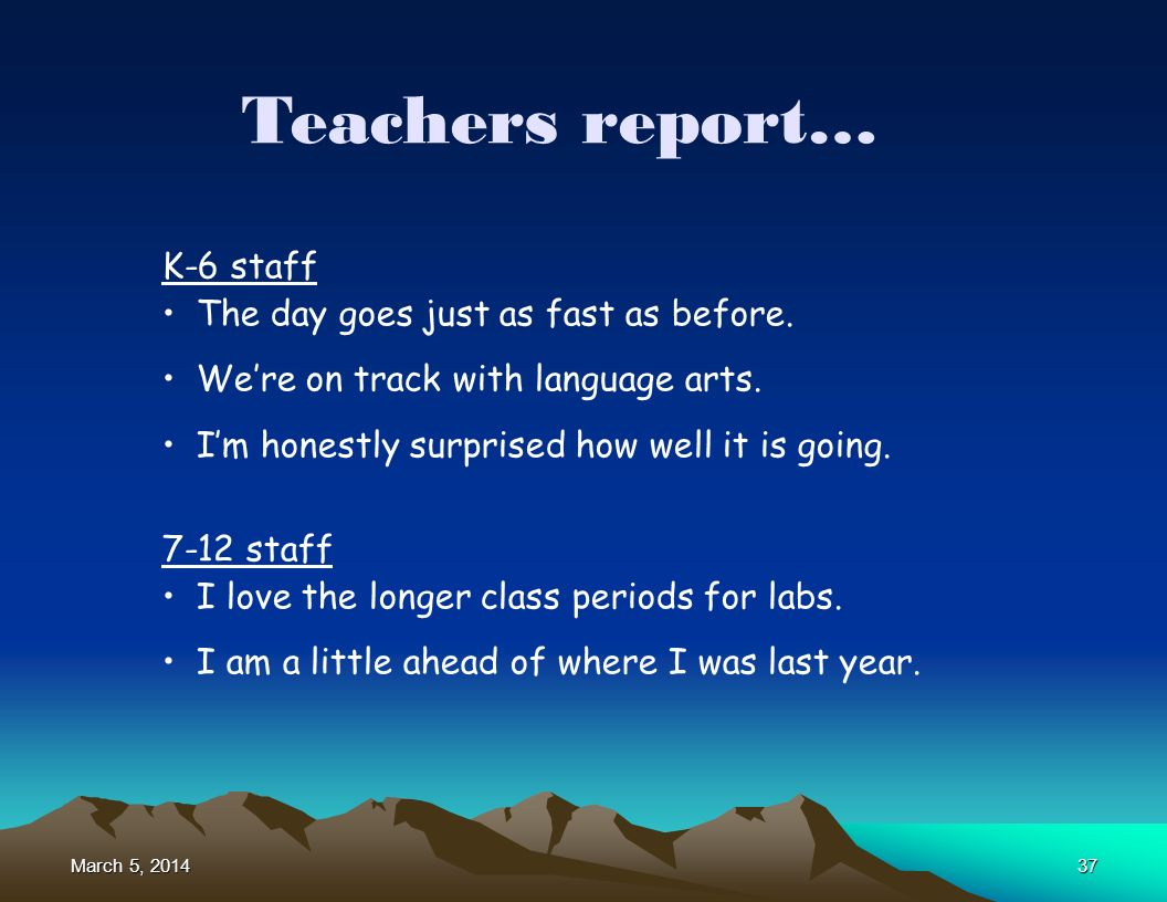 March 5, 2014March 5, 2014March 5, 201437 Teachers report… K-6 staff The day goes just as fast as before. Were on track with language arts. Im honestl
