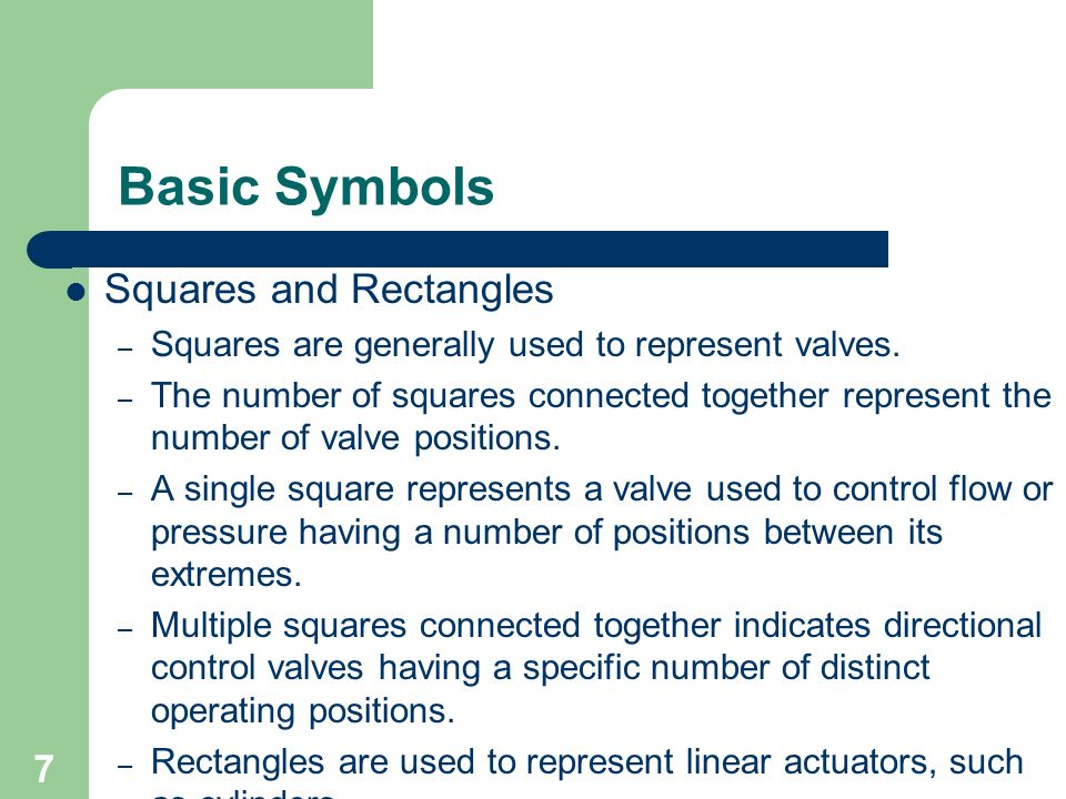 7 Basic Symbols Squares and Rectangles – Squares are generally used to represent valves. – The number of squares connected together represent the numb