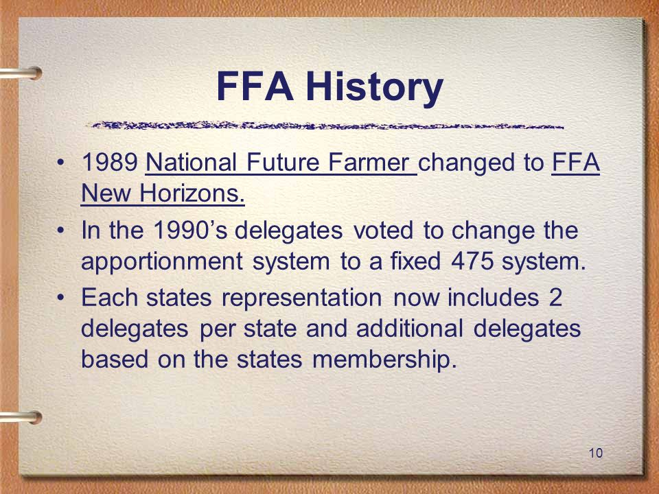10 FFA History 1989 National Future Farmer changed to FFA New Horizons. In the 1990s delegates voted to change the apportionment system to a fixed 475