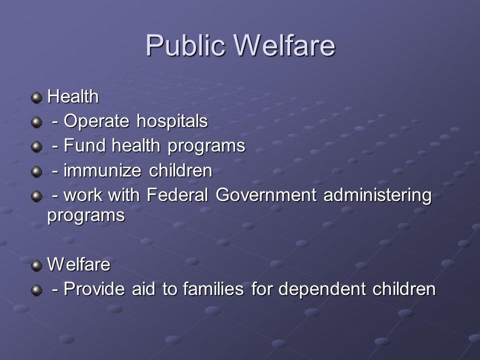 Public Welfare cont.