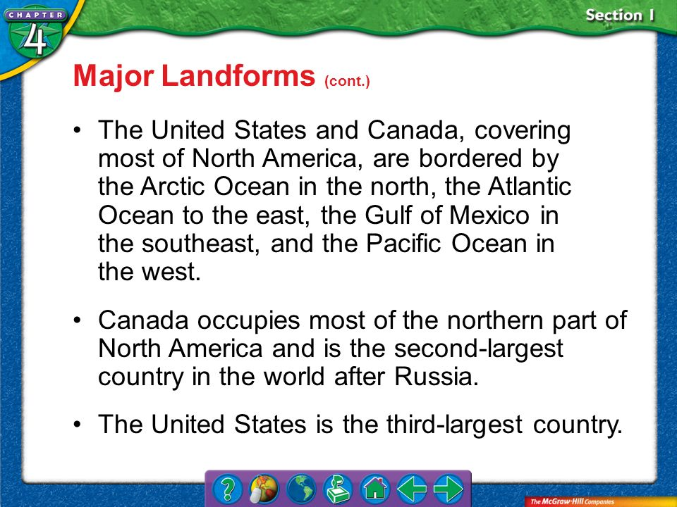 Section 1 Major Landforms (cont.) The United States and Canada, covering most of North America, are bordered by the Arctic Ocean in the north, the Atl