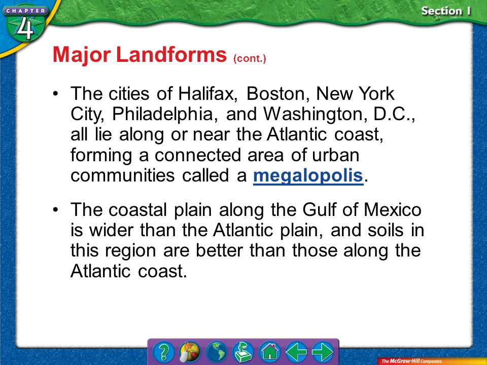 Section 1 Major Landforms (cont.) The cities of Halifax, Boston, New York City, Philadelphia, and Washington, D.C., all lie along or near the Atlantic
