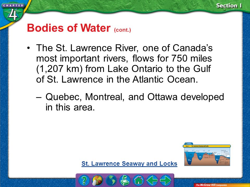 Section 1 Bodies of Water (cont.) The St. Lawrence River, one of Canadas most important rivers, flows for 750 miles (1,207 km) from Lake Ontario to th