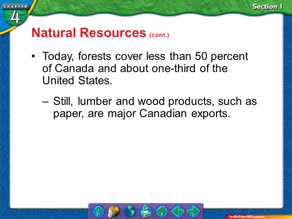 Section 1 Natural Resources (cont.) Today, forests cover less than 50 percent of Canada and about one-third of the United States. –Still, lumber and w