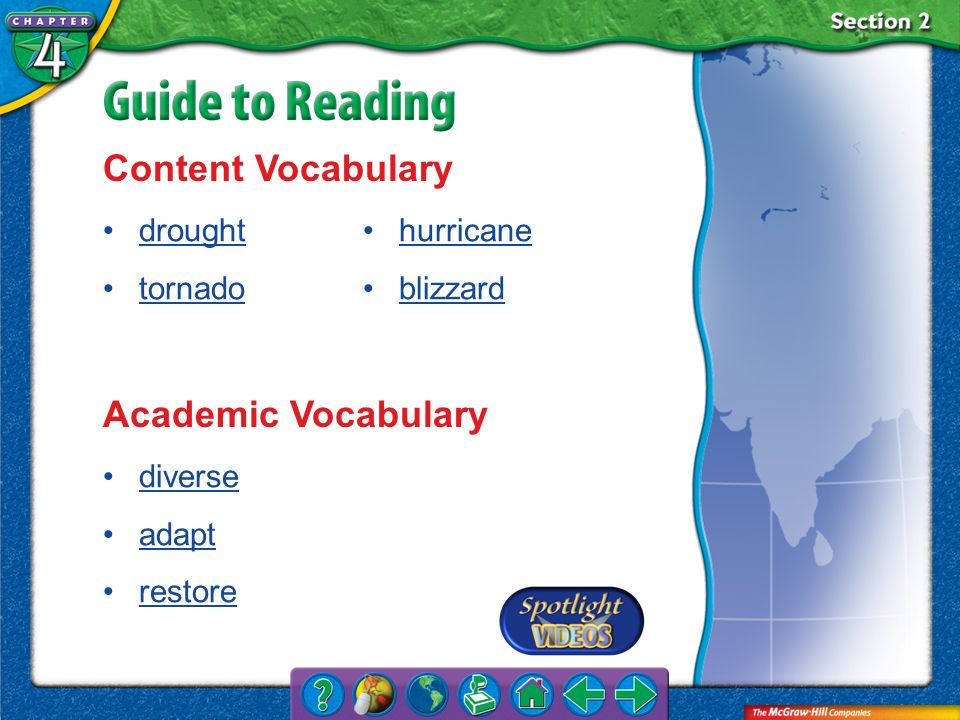 Section 2-Key Terms Content Vocabulary drought tornado hurricane blizzard Academic Vocabulary diverse adapt restore