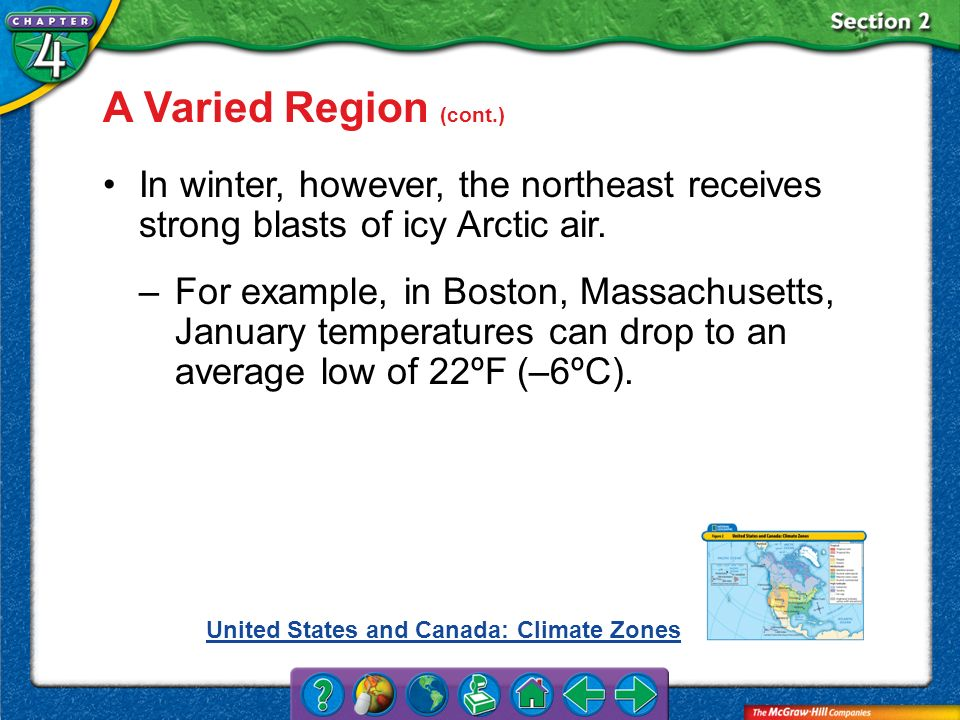Section 2 A Varied Region (cont.) In winter, however, the northeast receives strong blasts of icy Arctic air. –For example, in Boston, Massachusetts,