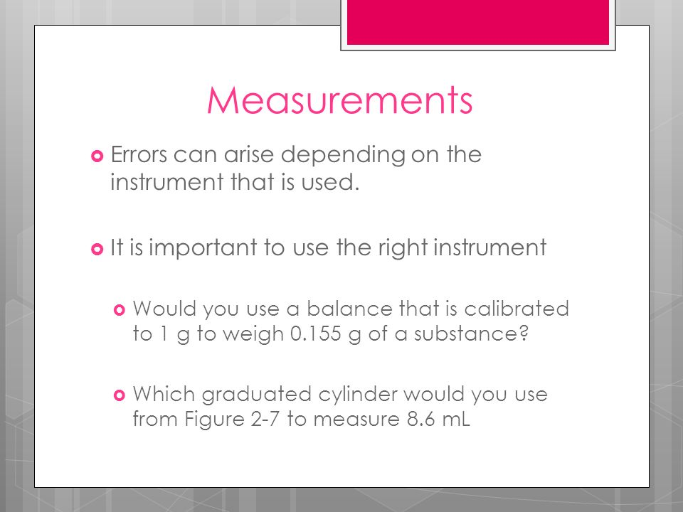 Accuracy vs.Precision 2 things to consider when making a measurement 1.
