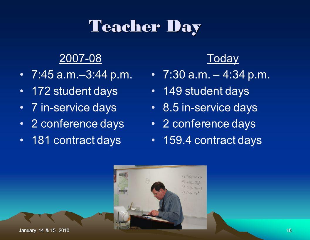January 14 & 15, 201018 Teacher Day 2007-08 7:45 a.m.–3:44 p.m.