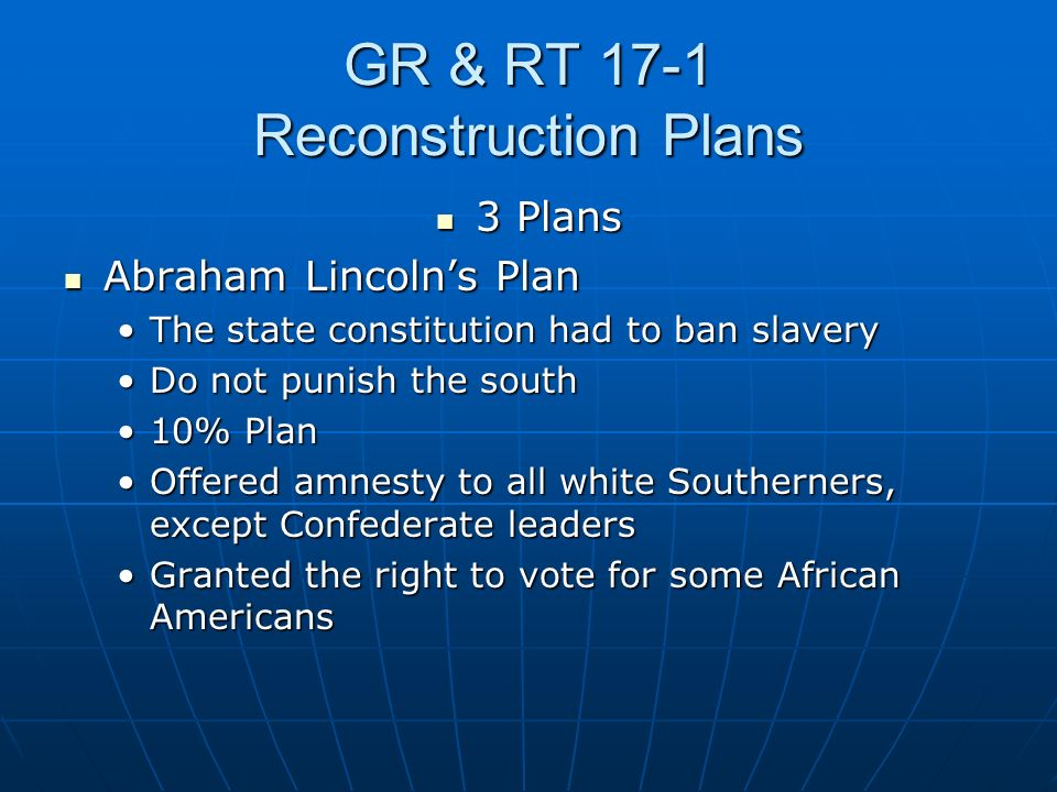 GR & RT 17-1 Reconstruction Plans 3 Plans 3 Plans Abraham Lincolns Plan Abraham Lincolns Plan The state constitution had to ban slaveryThe state const