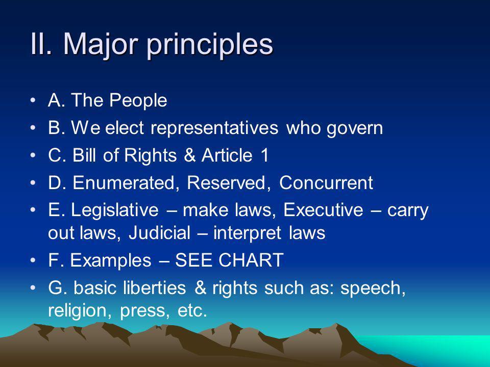 II.Major principles A. The People B. We elect representatives who govern C.
