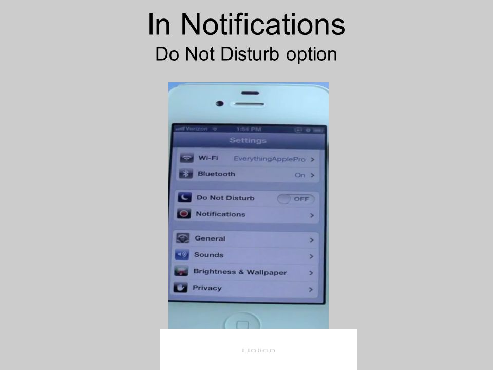 In Notifications Do Not Disturb option