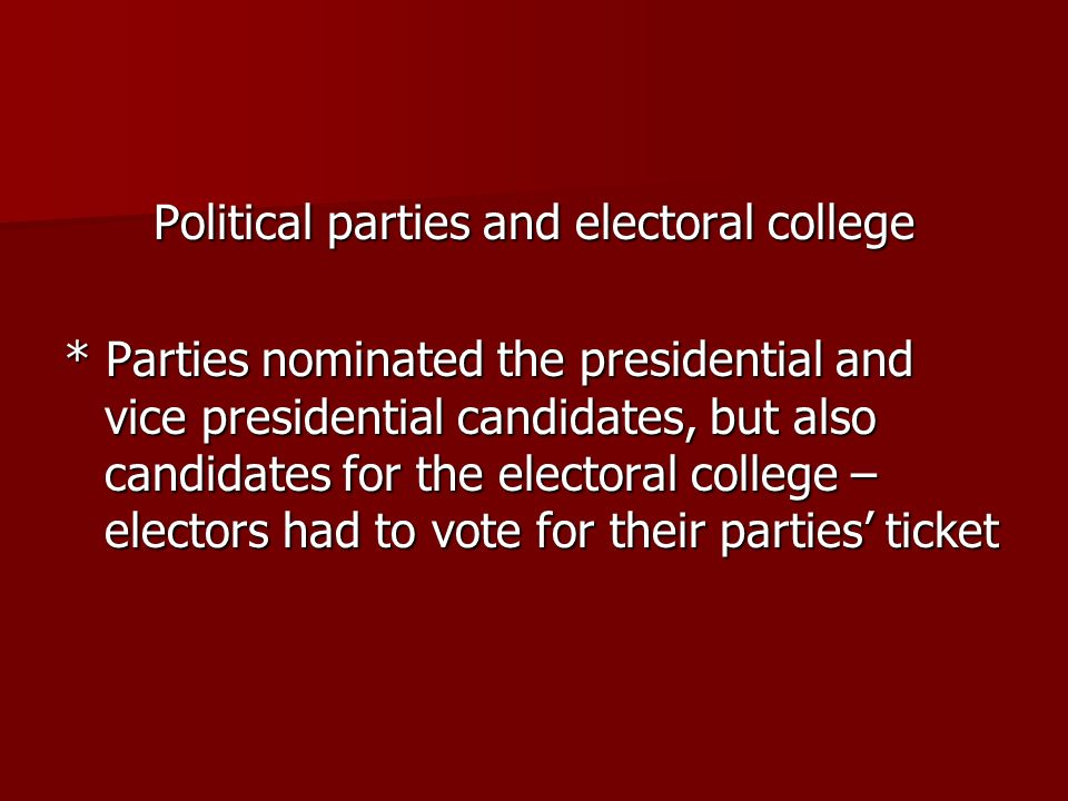 Political parties and electoral college * Parties nominated the presidential and vice presidential candidates, but also candidates for the electoral c