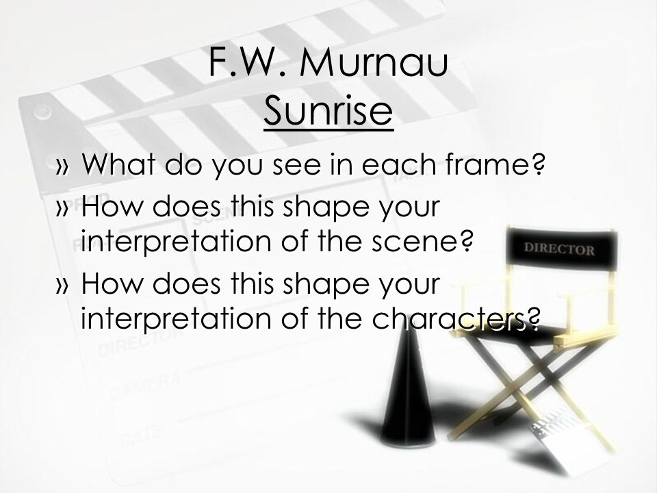 F.W. Murnau Sunrise »What do you see in each frame.