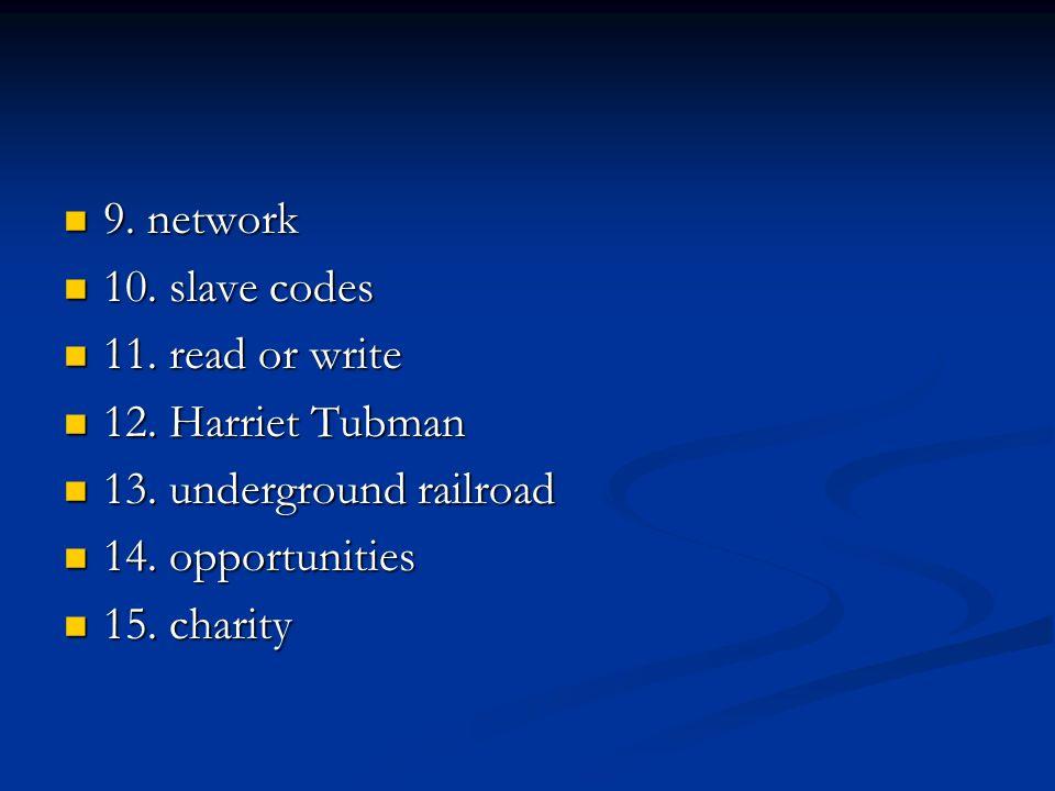 9. network 9. network 10. slave codes 10. slave codes 11. read or write 11. read or write 12. Harriet Tubman 12. Harriet Tubman 13. underground railro