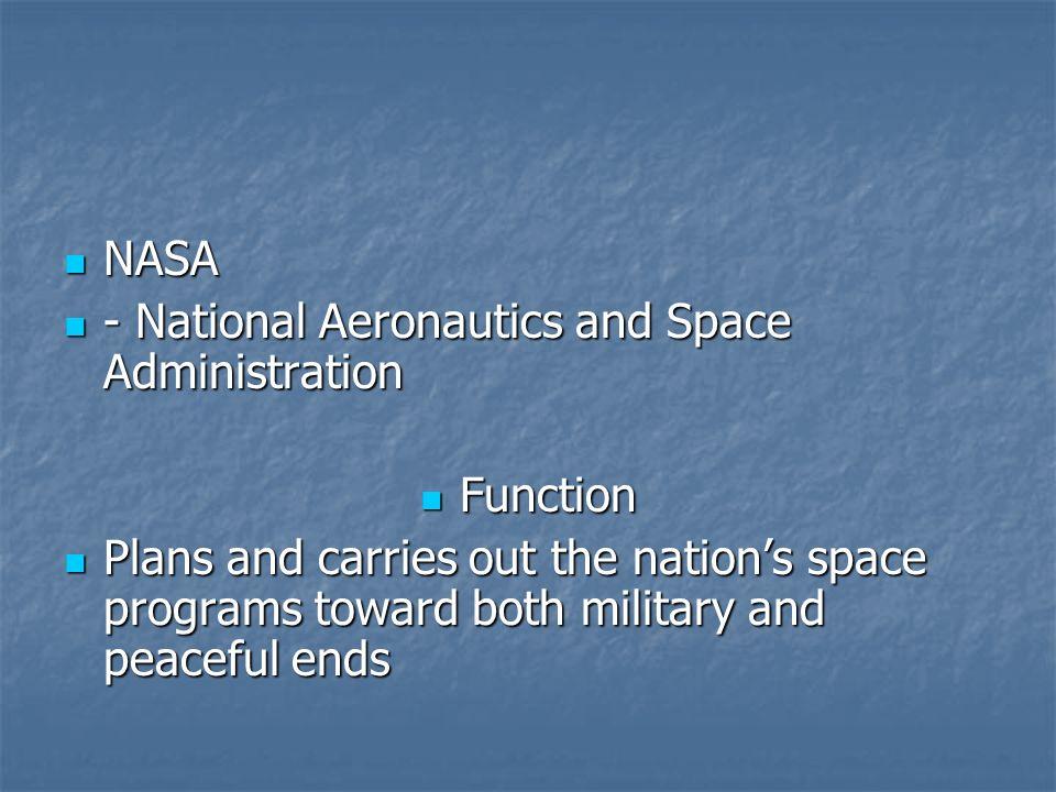 NASA NASA - National Aeronautics and Space Administration - National Aeronautics and Space Administration Function Function Plans and carries out the