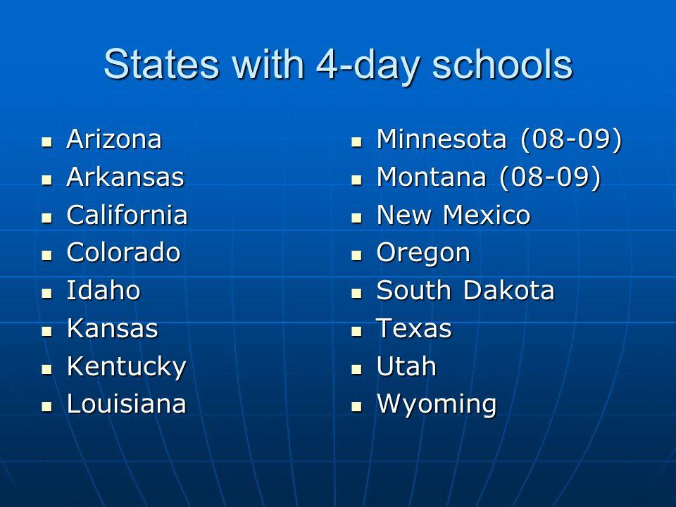 States with 4-day schools Arizona Arizona Arkansas Arkansas California California Colorado Colorado Idaho Idaho Kansas Kansas Kentucky Kentucky Louisi