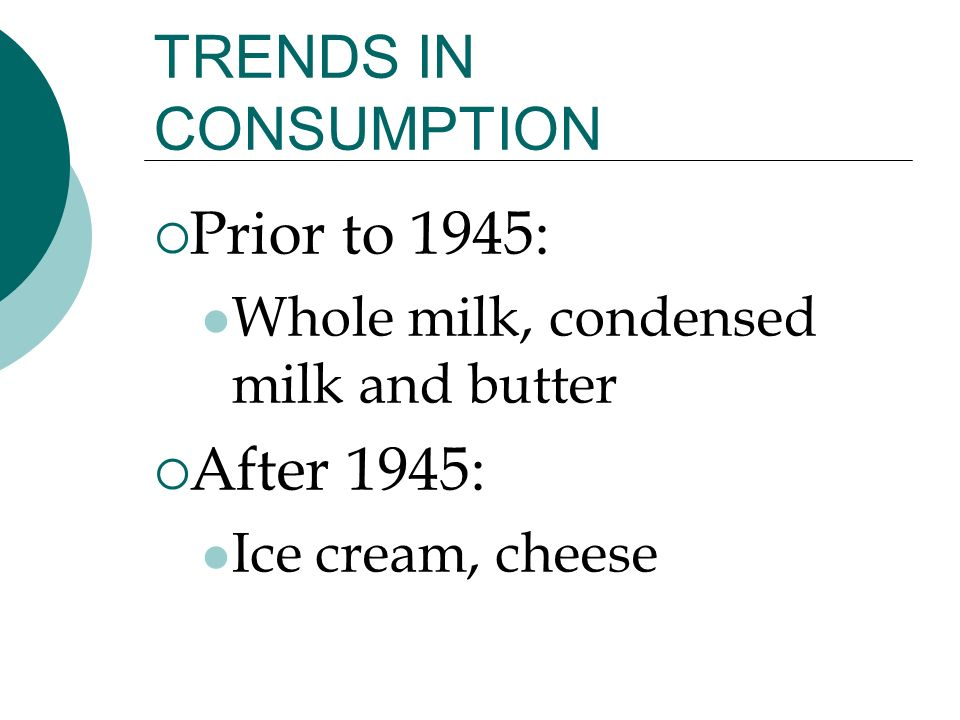 TRENDS IN CONSUMPTION Prior to 1945: Whole milk, condensed milk and butter After 1945: Ice cream, cheese