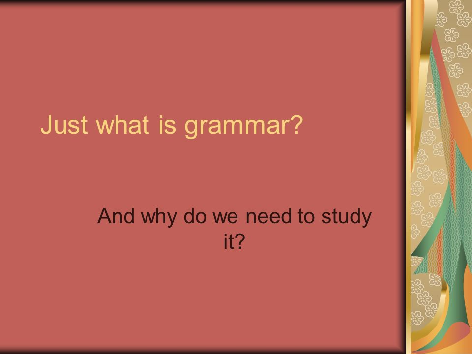 Just what is grammar And why do we need to study it