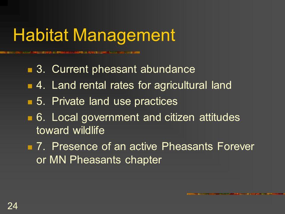 24 Habitat Management 3. Current pheasant abundance 4.