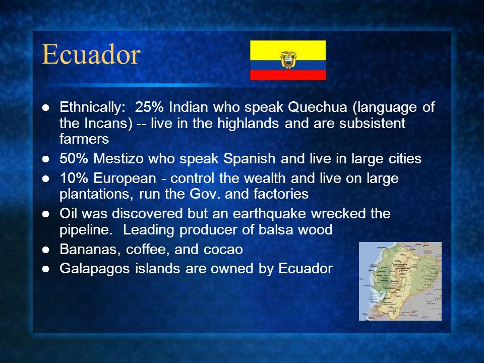 Ecuador Ethnically: 25% Indian who speak Quechua (language of the Incans) -- live in the highlands and are subsistent farmers 50% Mestizo who speak Spanish and live in large cities 10% European - control the wealth and live on large plantations, run the Gov.