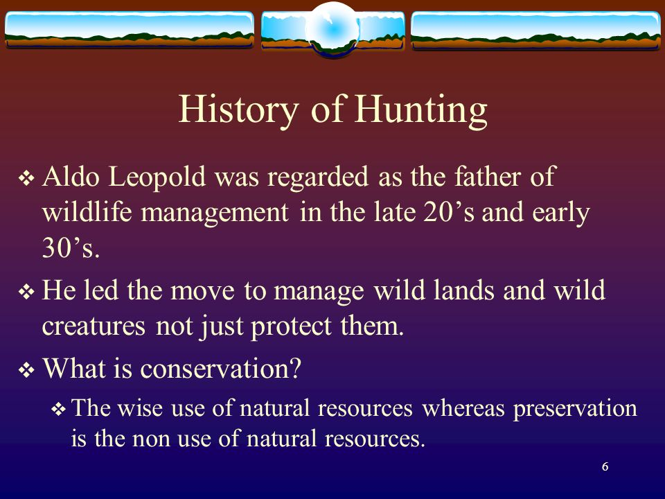 6 History of Hunting Aldo Leopold was regarded as the father of wildlife management in the late 20s and early 30s.