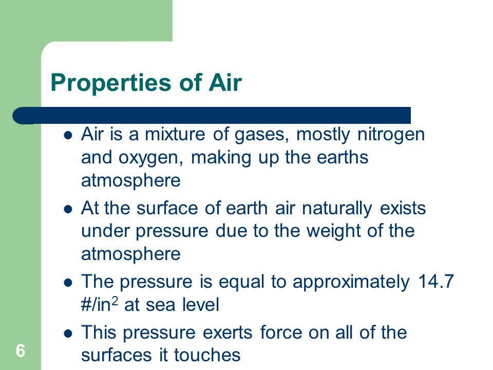 6 Properties of Air Air is a mixture of gases, mostly nitrogen and oxygen, making up the earths atmosphere At the surface of earth air naturally exist