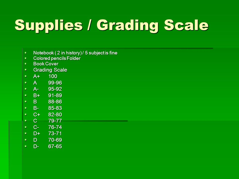 Supplies / Grading Scale Notebook ( 2 in history) / 5 subject is fine Notebook ( 2 in history) / 5 subject is fine Colored pencils Folder Colored penc