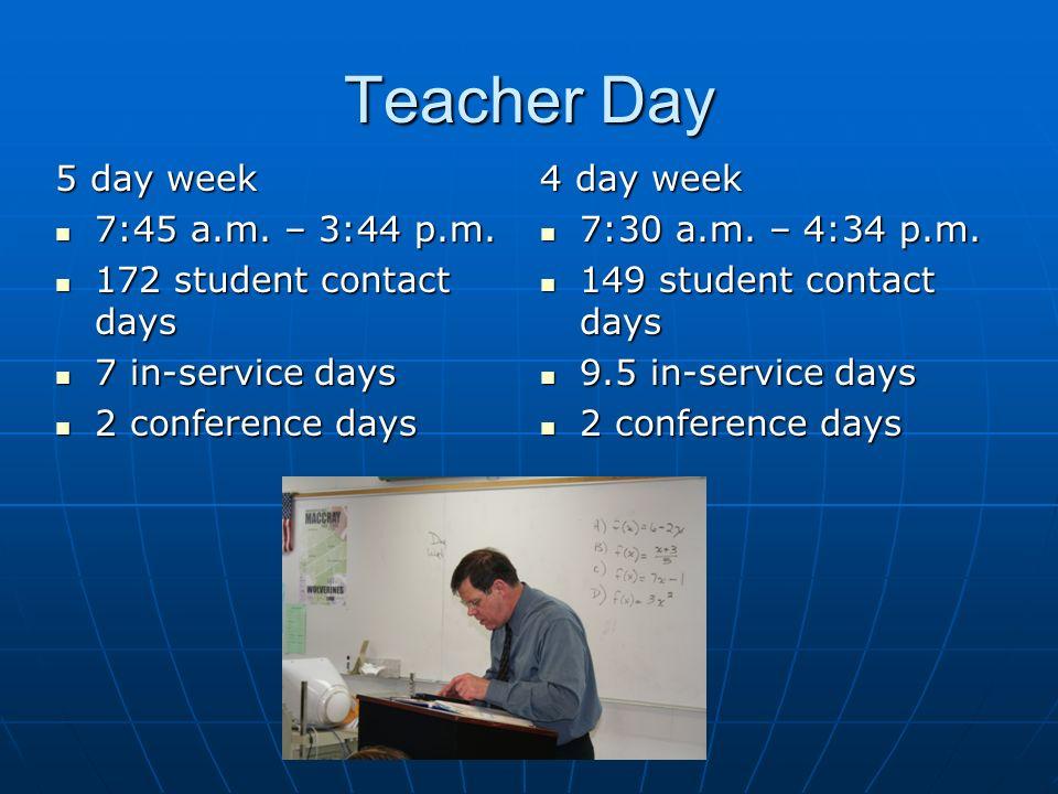 Teacher Day 5 day week 7:45 a.m.– 3:44 p.m. 7:45 a.m.