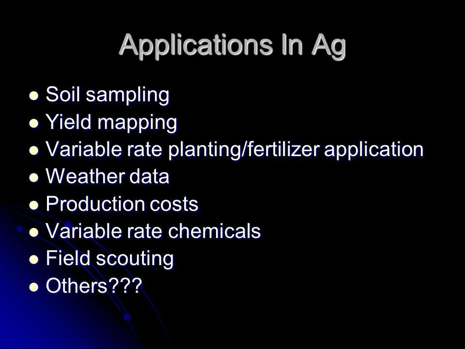 Applications In Ag Soil sampling Soil sampling Yield mapping Yield mapping Variable rate planting/fertilizer application Variable rate planting/fertil