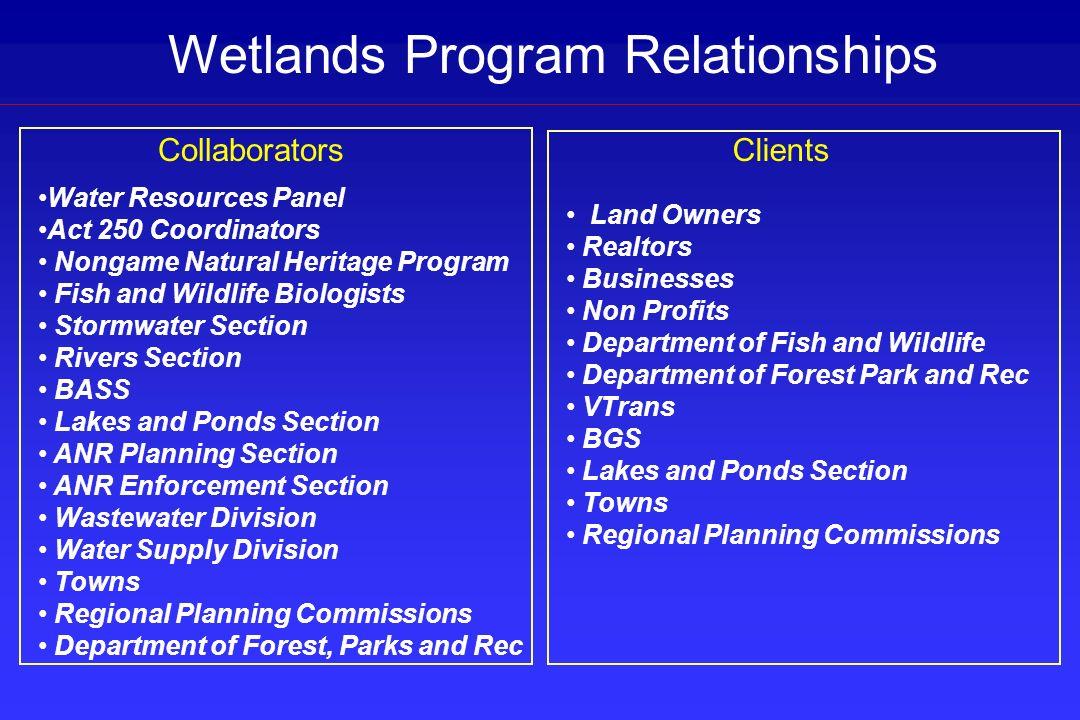 Wetlands Program Relationships Water Resources Panel Act 250 Coordinators Nongame Natural Heritage Program Fish and Wildlife Biologists Stormwater Sec