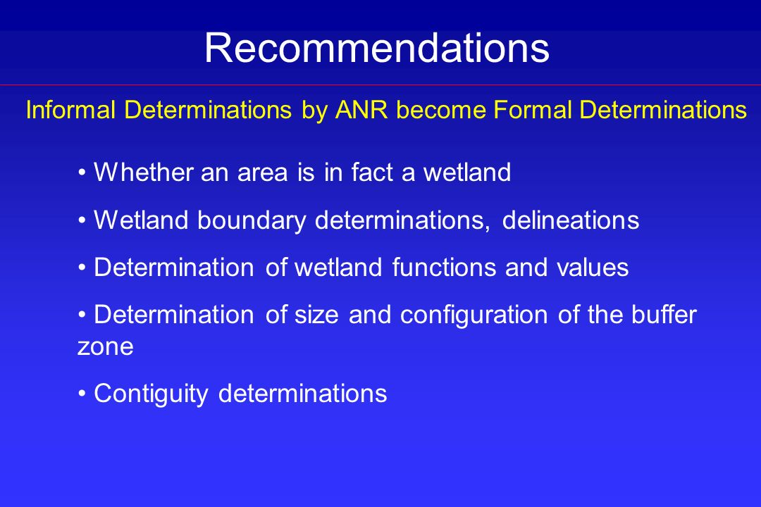 Informal Determinations by ANR become Formal Determinations Whether an area is in fact a wetland Wetland boundary determinations, delineations Determi